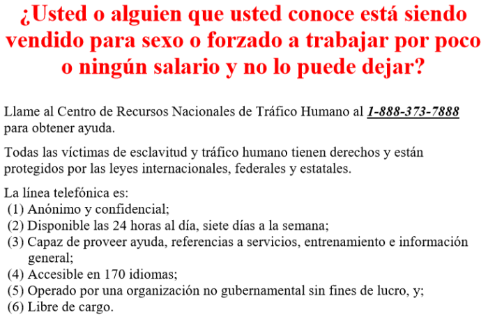 HumanTraffickingNoticeGBISpanish